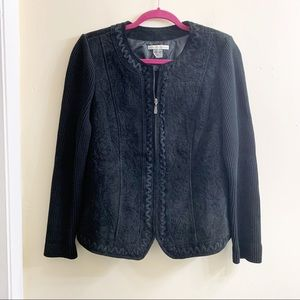 Peter nygard leather suede embroidered jacket